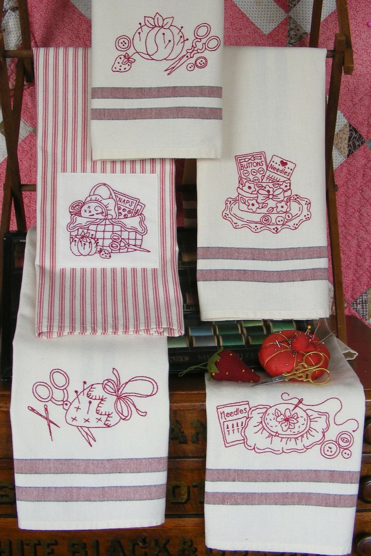 Redwork kitchen tea towels pattern sewing themed designs for Kitchen quilting ideas