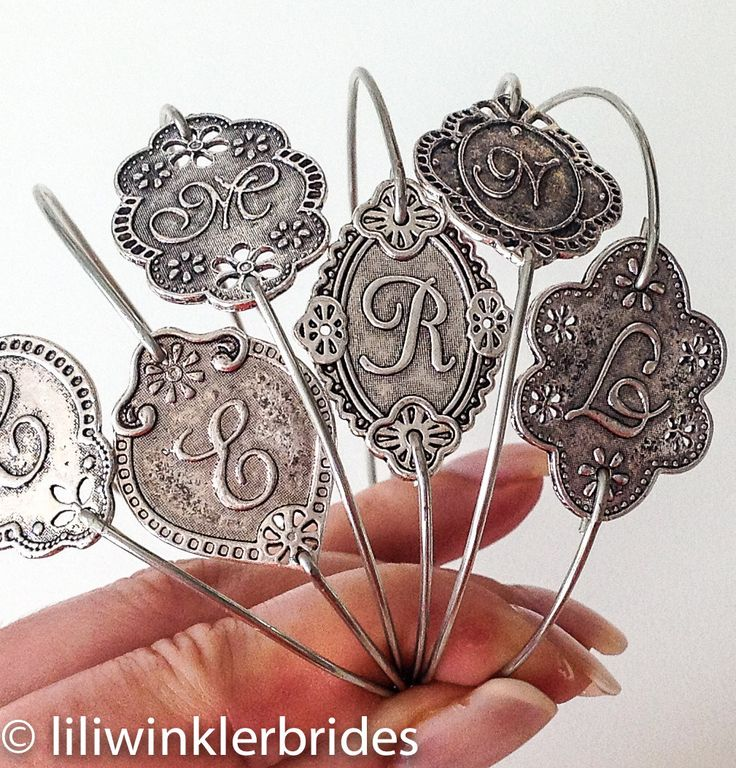 Silver Monogram Bracelet  Initial by Liliwinklerbrides2 on Etsy, $12.99