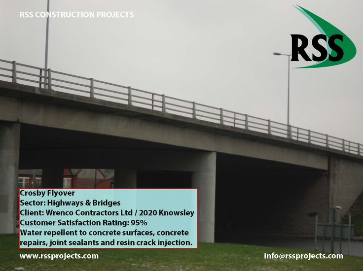Water Repellent to Concrete Surfaces, Concrete Repairs, Joint Sealants and Resin Crack Injection. http://www.rssprojects.com/Case Studies/crosby-flyover