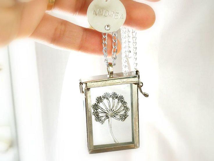 Shadow Box Pendant,Dandelion Pendant,Glass shadow box, Trinket Box, Personalized Pendant - pinned by pin4etsy.com