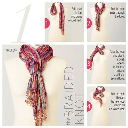 """For 10 fresh ways to wear your prettiest, most versatile wardrobe accessory, pick up """"The Art of Scarf Tying"""" at Coldwater Creek now."""
