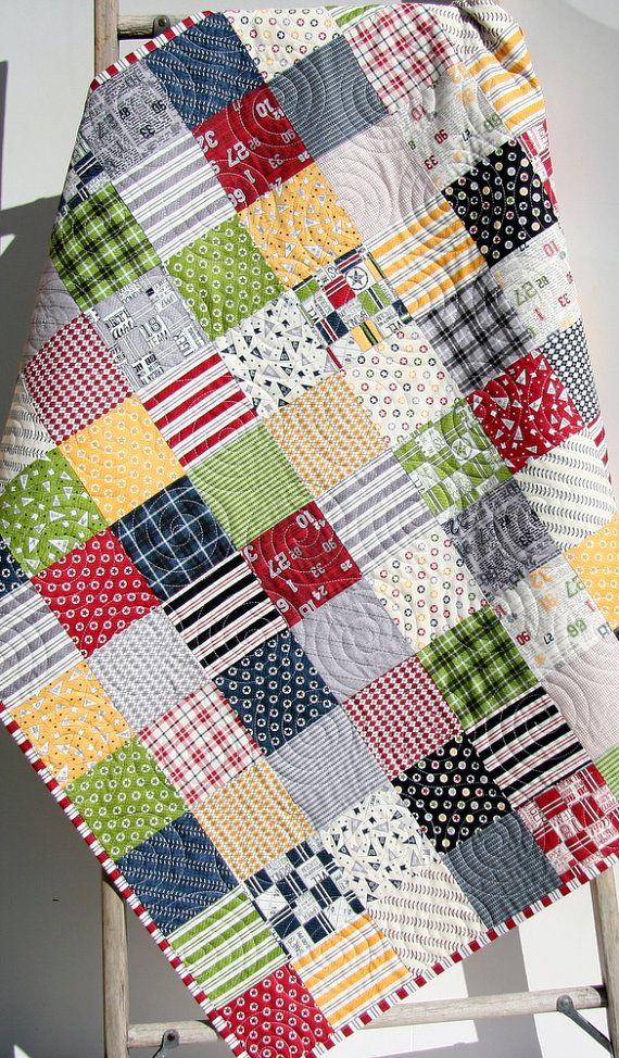 Sports Quilt, Varsity Baby Boy Blanket, Nursery Bedding, Basketball Soccer Baseball Football, Navy Blue Green Red, Nursery Decor, Crib Cot by SunnysideDesigns2