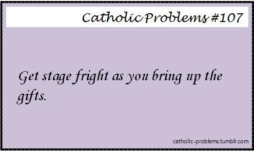 this one happened to me during the Easter Vigil Mass when the the RCIA class/New Catholics brought up the gifts. I had the Hosts and I was sooooo nervous carrying them.