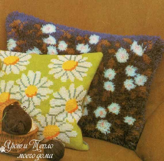 цветочная пушистая подушка