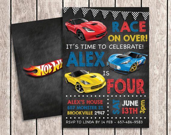 Invitación del cumpleaños de Hot Wheels por aSugarWonderland