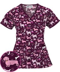 Best In Show Wine Uniform Advantage Print Scrub Top
