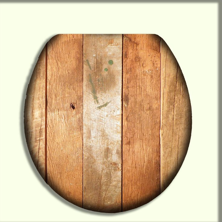Toilet Seat With Rustic Light Orange Reclaimed Wood Design