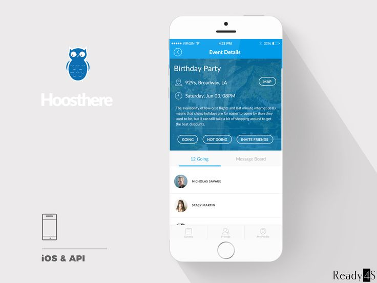 Hoosthere is an event hub that allows users to create events, invite their friends and manage their outings. The app enables to create both large-scale events and small gatherings with limited audience.