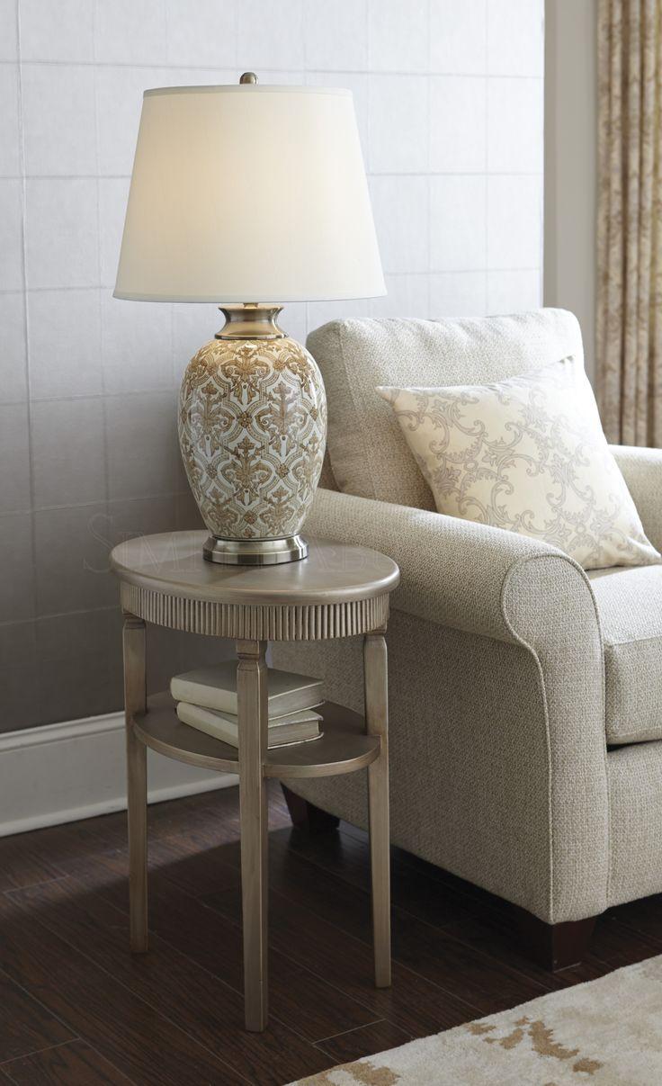 Champagne Oval side table with shelf. #SimplyAbundant #HomeDecor