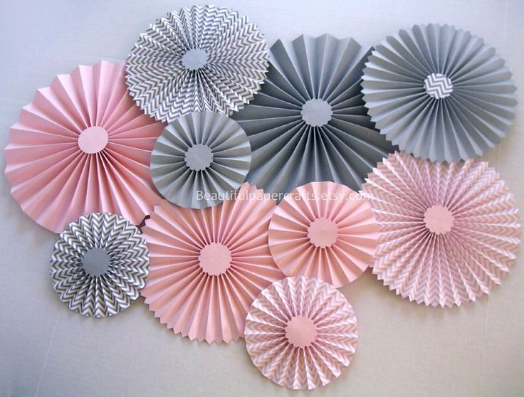 10 pc Pink and Gray Chevron Rosettes, Paper Fans, Pinwheel Backdrop Decor, Paper Rosettes, Candy Buffet Decorations, Choose your colors by BeautifulPaperCrafts on Etsy https://www.etsy.com/listing/195998406/10-pc-pink-and-gray-chevron-rosettes