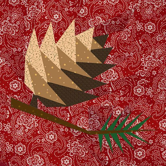 pinecone+quilt+block   Pine Cone paper pieced quilt block pattern PDF by BubbleStitch