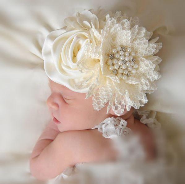 Newborn Headband,Christening Headband Baptism Headband Baby Headbands Wedding hair accessory Cream headband Ivory shabby chic headband