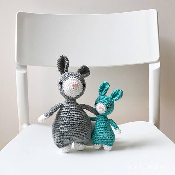 Hand crocheted Bunny Pair - $78   see full collection at kargow.com