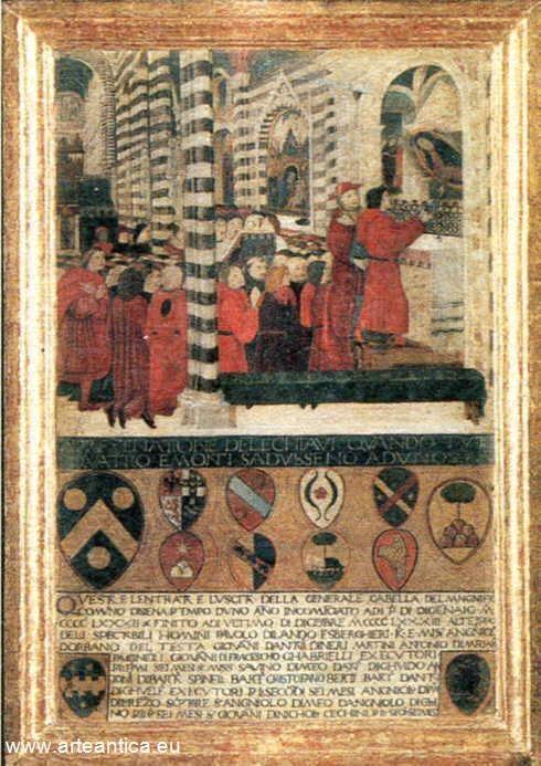 L'offerta delle chiavi della città alla Madonna. Del 1483.  Autore: andrea di niccolò  Olio su Tavola