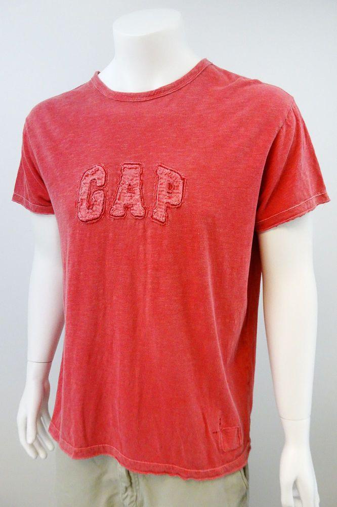 Men's GAP Embroidered T-Shirt Size XL Red Cotton Gap Logo Short Sleeve M216 #Gap #GraphicTee