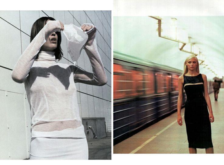 Ева Герцигова, фото Марио Тестино, французский Vogue, апрель;  и Джеймс Кинг в российском Vogue, октябрь