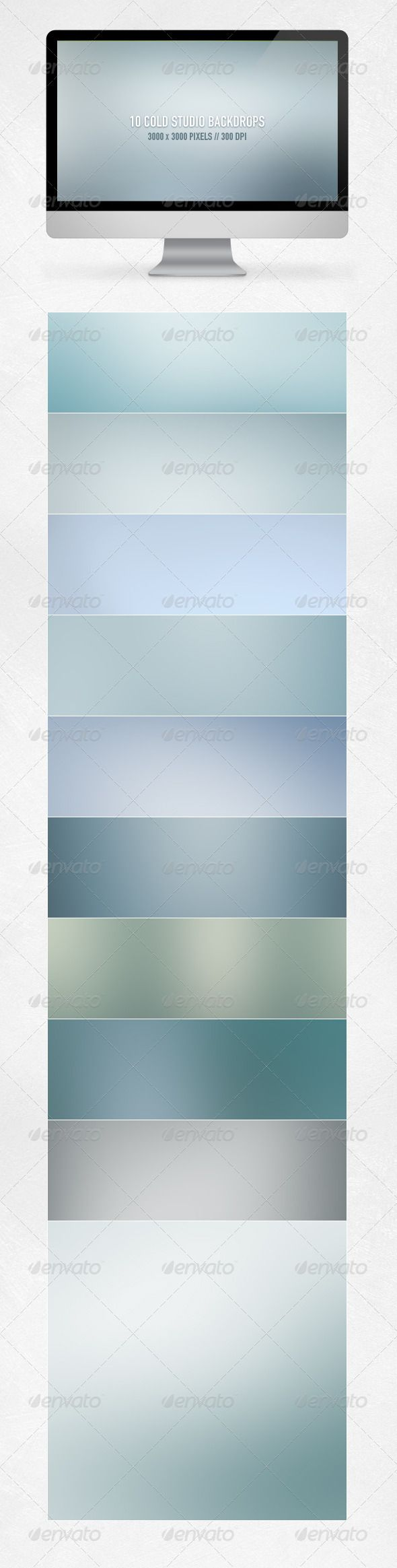 Cold Studio Backdrops  #GraphicRiver        About the Cold Studio Backdrops  Save money and time with these high resolution blurred backdrops, great for both print and web! These elegant backgrounds are minimal and yet so effective for ui design, advertisement, websites, photography and more.   Very usefull as photo studio backgrounds, apps, user interfaces, wallpapers and more.   What do you get?   10 high resolution backgrounds on 300 DPI  Sizes: 3000×3000 pixels  High quality JPG files…
