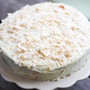 Pumpkin & Coconut Cake by Karen Austin.   A moist sponge with the sweetness of pumpkin and the tropical taste of coconut.