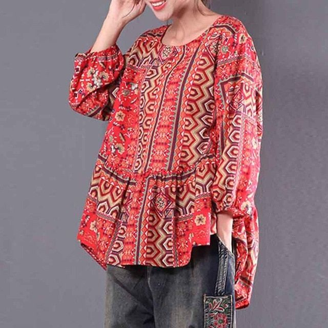 Women ZANZEA Lantern Sleeve Shirt Tops V Neck Loose Casual Ethnic Blouse Plus