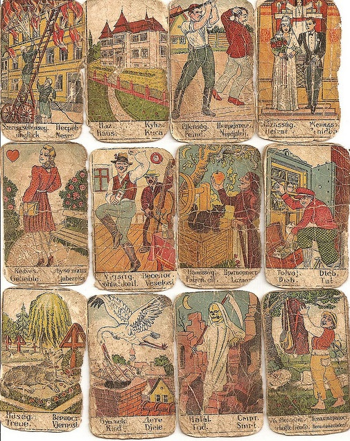 Antique fortune-telling cards. (would also be sweet @ halloween party!)