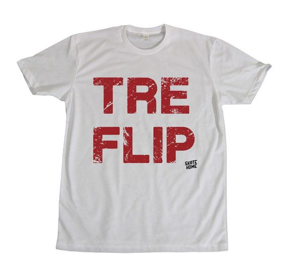 Skateboarder T-shirt  Tre Flip skateboard por skatehome en Etsy