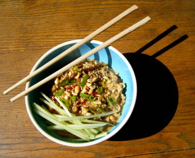 """Low carb """"pad thai"""" with a creamy peanut butter sauce and shiritaki noodles. Yum!"""