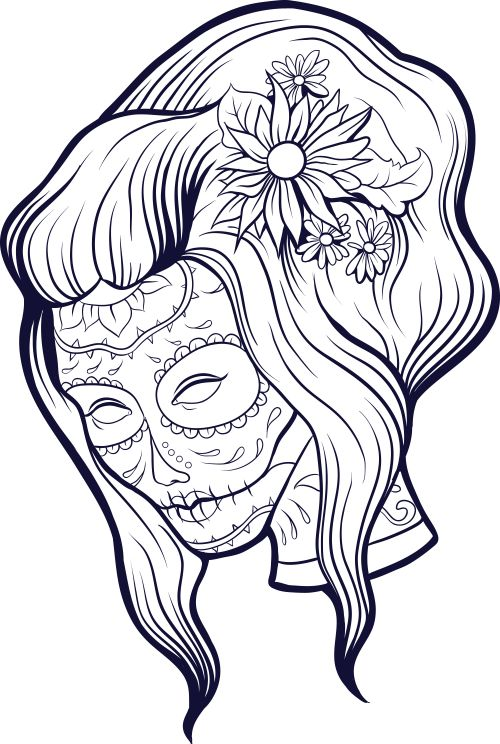 add some sophistication to your coloring with this advanced coloring sugar skull page freecoloringpages - Sugar Skull Coloring Pages Print