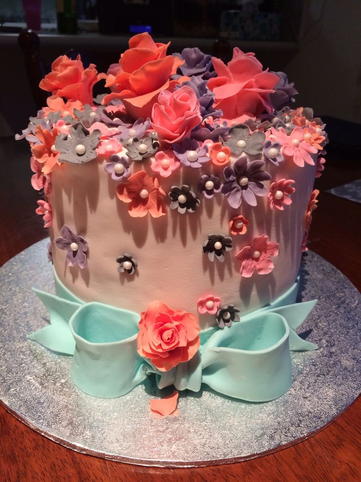 #wedding #birthday #creative #cake #decorating #fondant #sugar craft #flowers My practice cake made to make a little girl very happy
