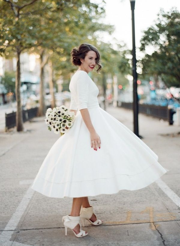 Modest Tea Length Wedding Dress