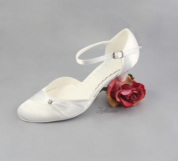 Brautschuhe Pumps flach Hochzeit (Nr.221)WEISS IVORY Gr.36,37,38,39,40,41,42,43 | eBay