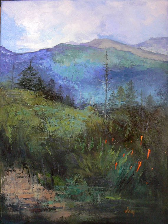 "Carol Schiff Medium Landscape, Original Oil, Mountain Painting, 18x24 Painting "" ""The Blue Ridge""  --  $ 795, via Etsy."