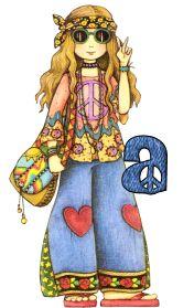 Alfabeto de chica hippy amor y paz.