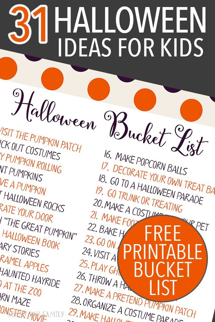 countdown to halloween with 31 family fun ideas free printable halloween bucket list - Free Halloween Activities For Kids