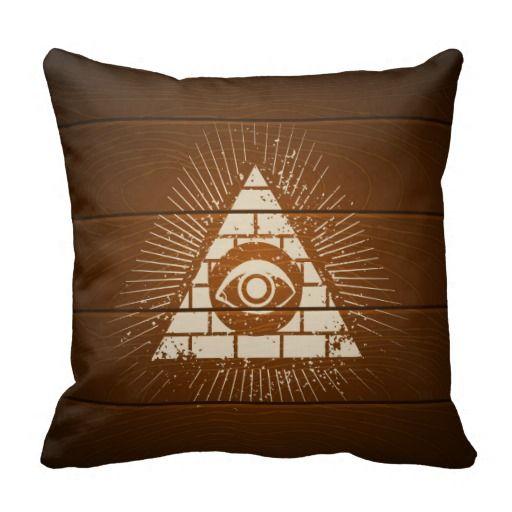 Pyramid with eye throw pillows