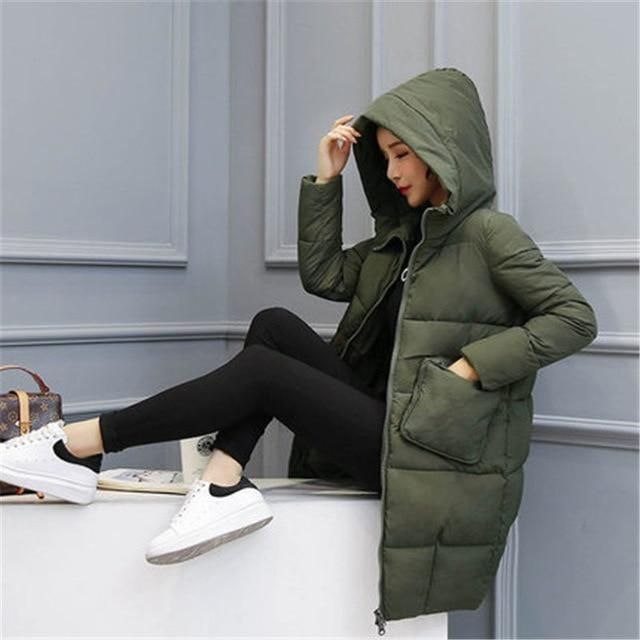 2017 Winter Jacket Women Coat Loose Thicken Plus Size Female Quilted Parkas Korean Solid Color Hooded Super Warm Outerwear Z96 a