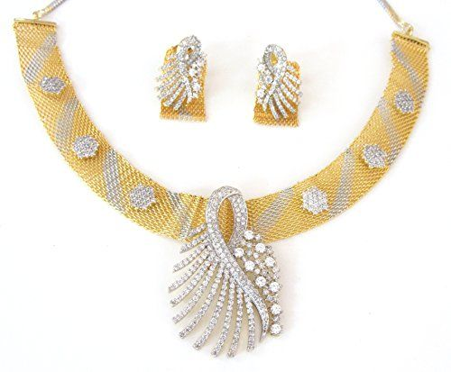 Indian Ad CZ Bollywood Gold & Silver (Two Tone) Necklace Set Ethnic Swam Jewelry (S-102) Swam Creations http://www.amazon.com/dp/B01CNXVI0C/ref=cm_sw_r_pi_dp_2pz3wb129T0B7