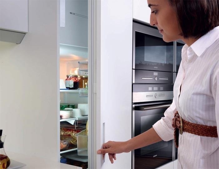 SANTOS kitchen | Integrated fridge unit with a 216 cm high door.