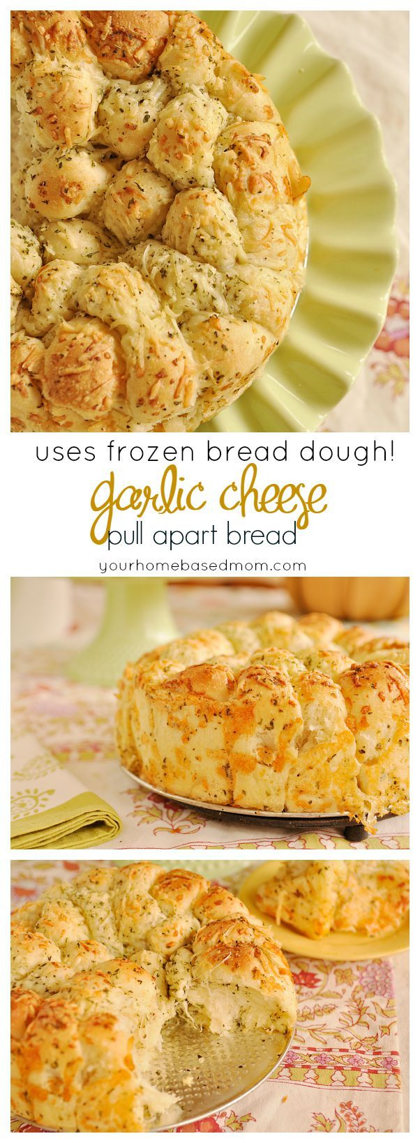 Garlic Cheese Pull Apart Bread at it's finest!  It uses frozen bread dough!