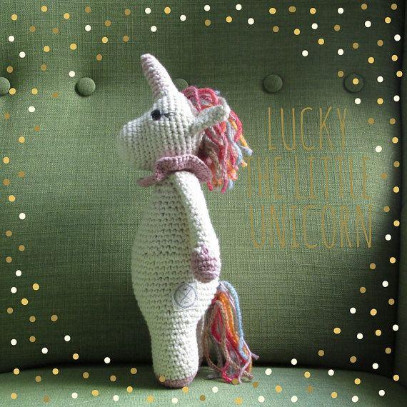 Lucky the little Unicorn amigurumi cotton doll by cottonandjute