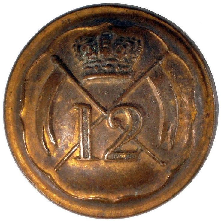 VICTORIAN NON COMMISSIONED OFFICERS BUTTON 12th ROYAL REGIMENT OF LANCERS #133
