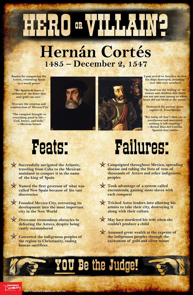 History tends to judge historical figures in extremes: Genghis Khan was a barbarian! Martin Luther was a religious hero! As teachers, it's tempting at times to present the world as black and white to our students: good or evil, friend or foe, hero or villain. Use this Hernán Cortés mini-poster to encourage students to take off the rose-colored glasses and see beyond the established historical narratives, into the real world of gray.   ©2017. Middle school, high school. 11 x 17 inches.
