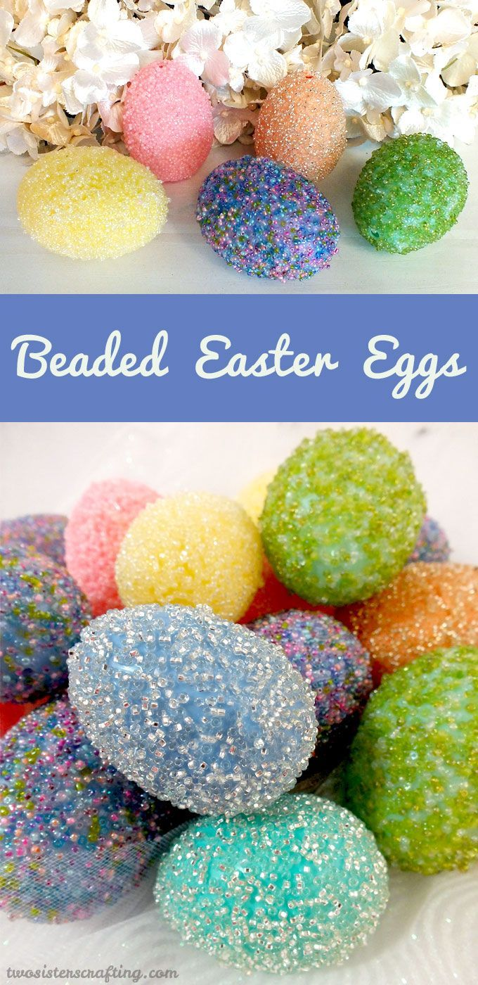 Take those plastic Easter Eggs to the next level with our embellished Beaded Easter Egg Tutorial. For more Easter Craft Ideas follow us at https://www.pinterest.com/2SistersCraft/