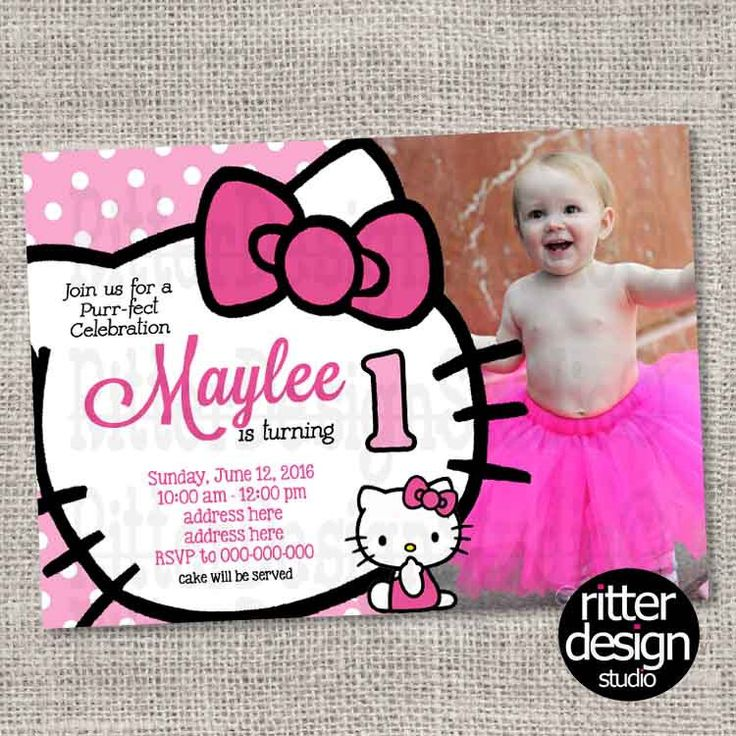 Birthday Invitation Hello Kitty with picture - Printable Digital file by RitterDesignStudio on Etsy https://www.etsy.com/listing/291189025/birthday-invitation-hello-kitty-with