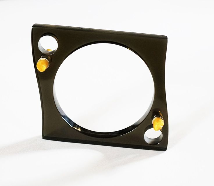 E. Salwierz Design-Plexiglass Baltic Amber Sterling Silver Bracelet no. 780K3 by APPUSSTUDIOJEWELLERY on Etsy