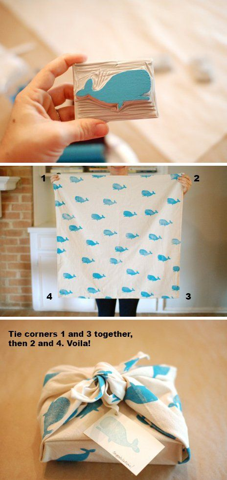 Hand-print fabric for gift wrap that can be used over and over again -- great way to use our DIY Stamp Kit!