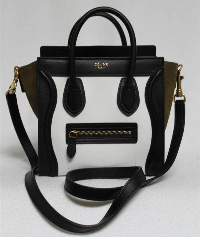 Celine White   Khaki Tricolor Leather   Suede Nano Luggage Messenger Bag  Sold Out in Stores  00092de07bb88