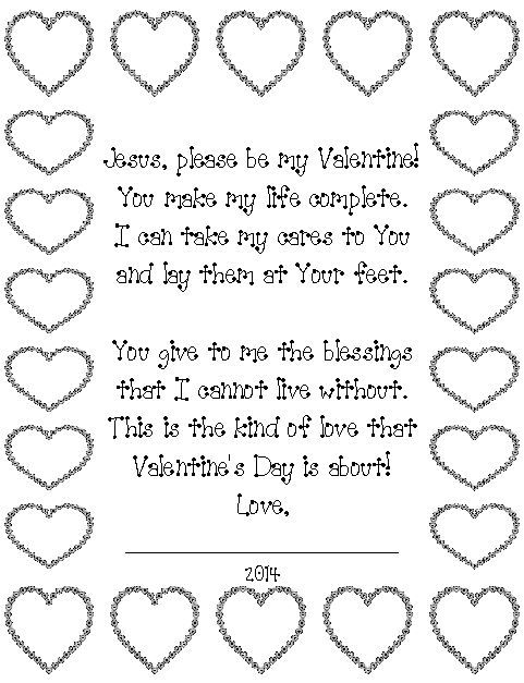 ~Valentine's Day poem for Jesus~ Kids can read the poem and color the hearts. Great for Christian schools, Sunday School, Children's Church, and other church programs. http://www.orientaltrading.com/inspirational-valentine-wreath-craft-kit-a2-48_5569-12-1.fltr?Ntt=inspirational valentine wreath kit