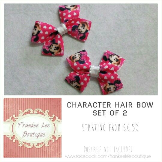 Character hair bow - minnie mouse - frankee lee boutique