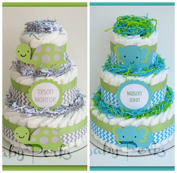 Turtle Baby Shower, Turtle Diaper Cake , Baby Shower Decorations , Chevron Diaper cake , Green and grey , Chevron Baby Shower via Etsy