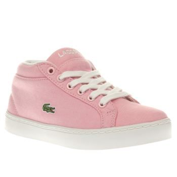 Lacoste Pink Straightset Chukka Girls Junior Lacoste take girly sports styling to some new heights as the Straightset Chukka arrives for kids. Dressed in pale pink, this sporty hi-top features a soft fabric upper, joined with a padded ankle coll http://www.MightGet.com/january-2017-13/lacoste-pink-straightset-chukka-girls-junior.asp